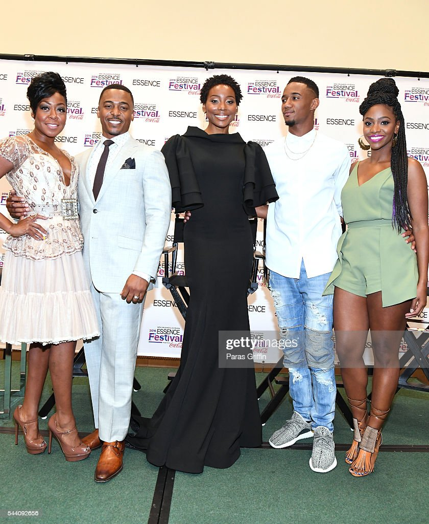The cast of Survivor's Remorse: Tichina Arnold, RonReaco Lee, Erica Ash, Jessie Usher, and Teyonah Parris pose at the 2016 ESSENCE Festival Presented By Coca-Cola at Ernest N. Morial Convention Center on July 1, 2016 in New Orleans, Louisiana.