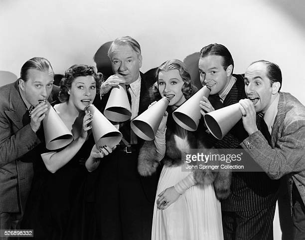 The cast of the 1938 film The Big Broadcast of 1938 Rufe Davis Martha Raye WC Fields Shirley Ross Bob Hope and Ben Blue