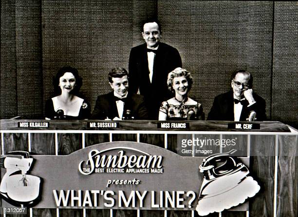 The cast of the 1950''s television show 'What''s My Line' poses for a promotional photo in 1952 Pictured are Dorothy Kilgallen David Susskind host...