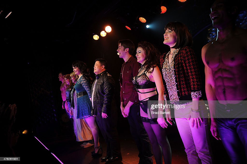 The cast of the '50 Shades! The Musical' attends the curtain call of '50 Shades! The Musical' Off Broadway opening night at Elektra Theatre on March 12, 2014 in New York City.