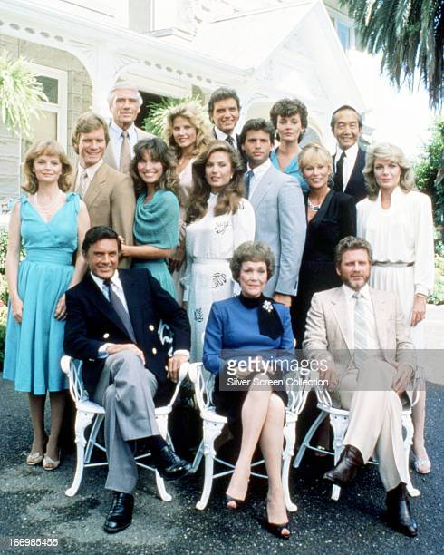 The cast of the American TV soap opera 'Falcon Crest' circa 1987 Back row left to right Margaret Ladd William R Moses Mel Ferrer Mariska Hargitay...