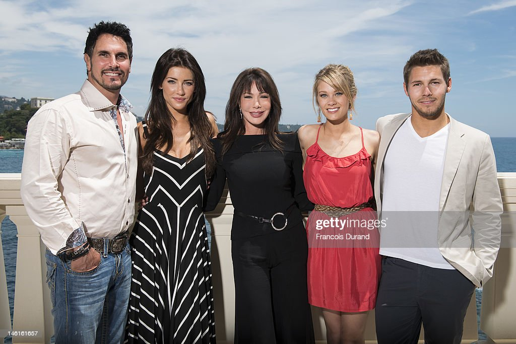 The cast of 'The Bold an The Beautiful' <a gi-track='captionPersonalityLinkClicked' href=/galleries/search?phrase=Don+Diamont&family=editorial&specificpeople=606917 ng-click='$event.stopPropagation()'>Don Diamont</a>, Jacqueline Mac Innes Wood, <a gi-track='captionPersonalityLinkClicked' href=/galleries/search?phrase=Hunter+Tylo&family=editorial&specificpeople=663945 ng-click='$event.stopPropagation()'>Hunter Tylo</a>, Kim Matula and Scott Clifton attend 'The Bold and The Beautiful' Contest Winner Lunch on June 11, 2012 in Monte-Carlo, Monaco.