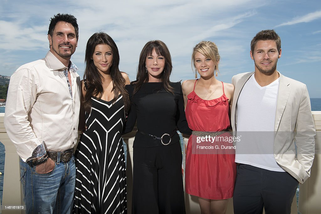The cast of 'The Bold and The Beautiful' (L-R) <a gi-track='captionPersonalityLinkClicked' href=/galleries/search?phrase=Don+Diamont&family=editorial&specificpeople=606917 ng-click='$event.stopPropagation()'>Don Diamont</a>, Jacqueline Mac Innes Wood, <a gi-track='captionPersonalityLinkClicked' href=/galleries/search?phrase=Hunter+Tylo&family=editorial&specificpeople=663945 ng-click='$event.stopPropagation()'>Hunter Tylo</a>, Kim Matula and Scott Clifton attend 'The Bold and The Beautiful' Contest Winner Lunch on June 11, 2012 in Monte-Carlo, Monaco.
