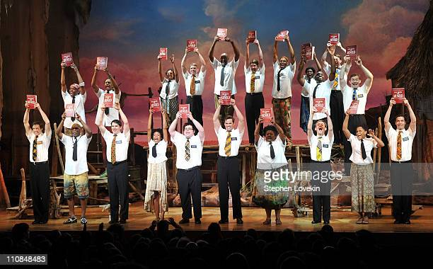 The cast of 'The Book of Mormon' during the curtain call on the opening night of 'The Book of Mormon' on Broadway at Eugene O'Neill Theatre on March...