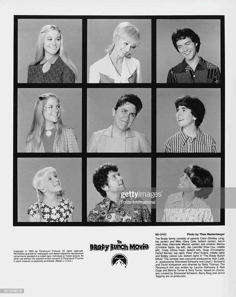 The cast of 'The Brady Bunch Movie', directed by Betty Thomas, 1995. The film is based on the earlier American TV series 'The Brady Bunch'. Top row (left to right): <a gi-track='captionPersonalityLinkClicked' href=/galleries/search?phrase=Christine+Taylor&family=editorial&specificpeople=201985 ng-click='$event.stopPropagation()'>Christine Taylor</a>, <a gi-track='captionPersonalityLinkClicked' href=/galleries/search?phrase=Shelley+Long&family=editorial&specificpeople=214714 ng-click='$event.stopPropagation()'>Shelley Long</a> and Christopher Daniel Barnes. Middle row: Jennifer Elise Cox, Henriette Mantel and Paul Sutera. Bottom row: Olivia Hack, <a gi-track='captionPersonalityLinkClicked' href=/galleries/search?phrase=Gary+Cole&family=editorial&specificpeople=577623 ng-click='$event.stopPropagation()'>Gary Cole</a> and Jesse Lee.