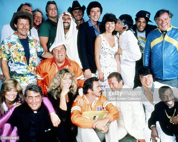 The cast of 'The Cannonball Run' directed by Hal Needham 1981 Back row left to right Alfie Wise Jack Elam unknown Joe Klecko Jamie Farr Mel Tillis...