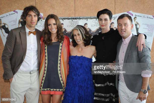 The cast of the Clothes Show George Lamb Louise Roe Caryn Franklin Erin O'Connor and Brendan Courtney attending the shows London exhibition at the...
