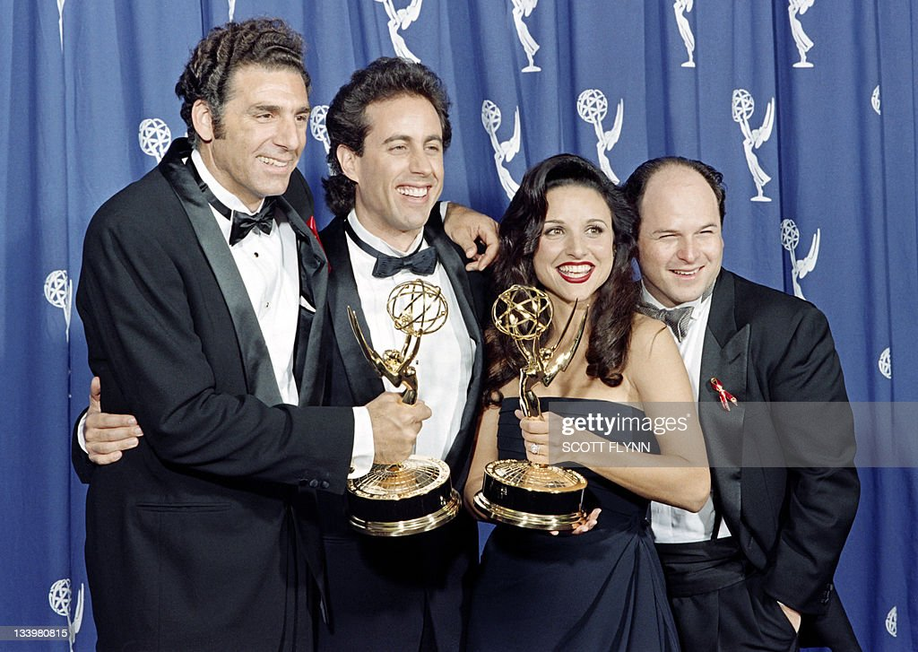 The cast of the Emmywinning 'Seinfeld' show pose with the Emmys they won for Outstanding Comedy Series on September 19 1993 in Pasadena CA From left...