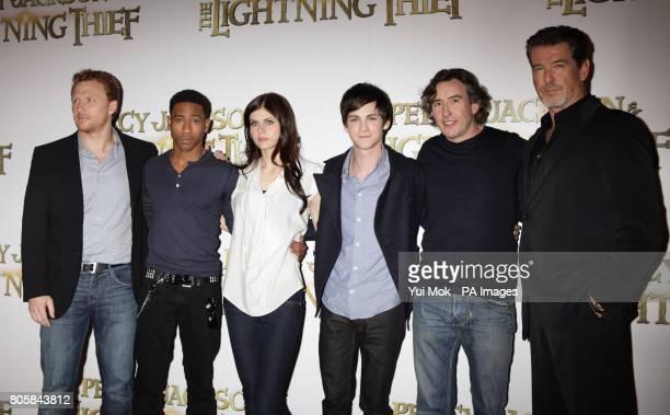 The cast of the film Kevin McKidd Brandon T Jackson Alexandra Daddario Logan Lerman Steve Coogan and Pierce Brosnan during a photocall for the film...