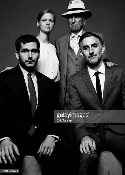 The cast of the film 'Voyeur' Myles Kane Josh Koury and Gay Talese poses for a portrait at the 55th New York Film Festival on October 5 2017