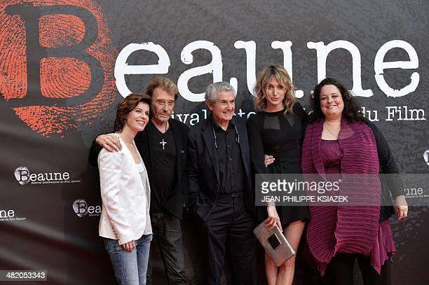 The cast of the French film 'Salaud on t'aime' actress Irene Jacob singer and actor Johnny Hallyday director Claude Lelouch actress Pauline Lefevre...