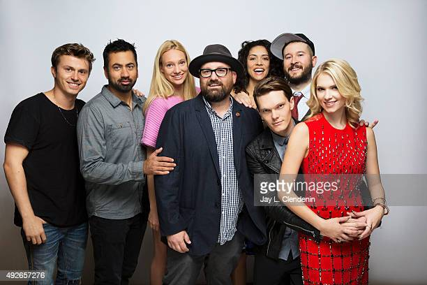 The cast of 'The Girl in the Photographs' including from left Kenny Wormald Kal Penn Autumn Kendrick director Nick Simon Miranda Rae Mayo Luke Baines...