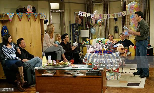 The cast of the hit NBC series 'Friends' Courteney Cox Arquette Matthew Perry Jennifer Aniston David Schwimmer Lisa Kudrow Christina Pickles Elliott...