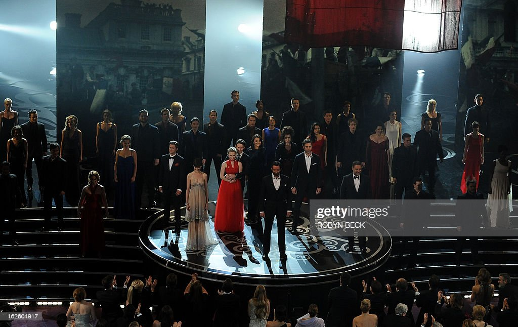 The cast of the Les Miserables performs onstage at the 85th Annual Academy Awards on February 24, 2013 in Hollywood, California. AFP PHOTO/Robyn BECK