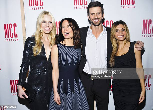 The cast of 'The Money Shot' Gia Crovatin Elizabeth Reaser Fred Weller and Callie Thorne attend their opening night after party at 49 Grove on...