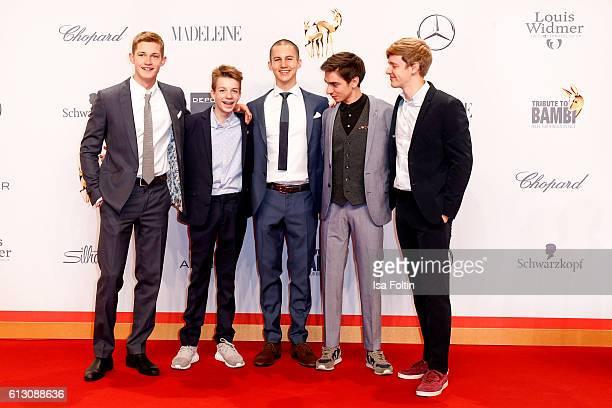 The cast of the movie 'Der Club der roten Baender' Damian Hardung Nick Julius Schuck Tim Oliver Schultz Ivo Kortlang and Timur Bartels attend the...