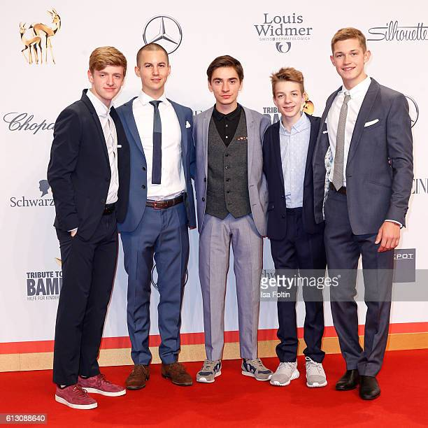 The cast of the movie 'Der Club der roten Baender' Timur Bartels Tim Oliver Schultz Ivo Kortlang Nick Julius Schuck and Damian Hardung attend the...