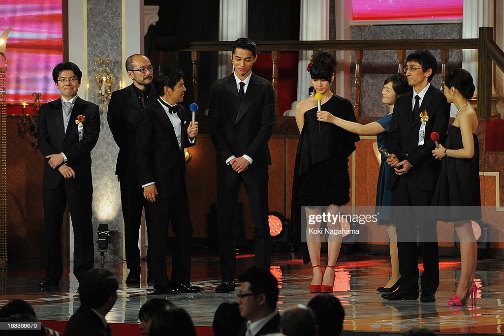 The cast of the movie 'Kirishima, Bukatsu Yamerutteyo' accepts Best Picture Award during the 36th Japan Academy Prize Award Ceremony at Grand Prince Hotel Shin Takanawa on March 8, 2013 in Tokyo, Japan.