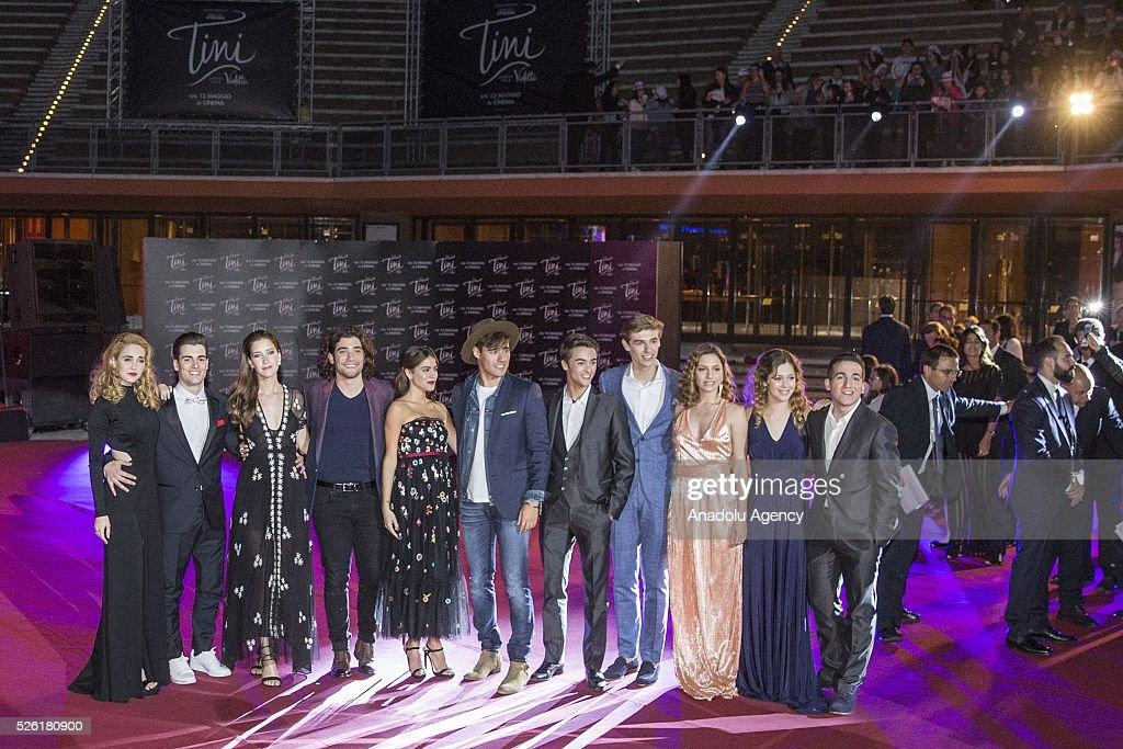 The cast of the movie 'Tini-La nuova vita di Violetta' attends the premiere of Tini-La nuova vita di Violetta at Auditorium Parco della Musica on April, 29, 2016 in Rome, Italy.