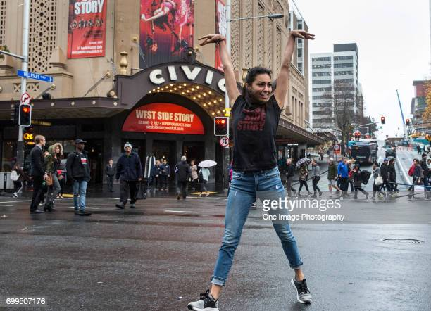 The cast of the musical show West Side Story hold a flash mob on June 22 2017 in Auckland New Zealand The show opens tonight in Auckland at the Civic...