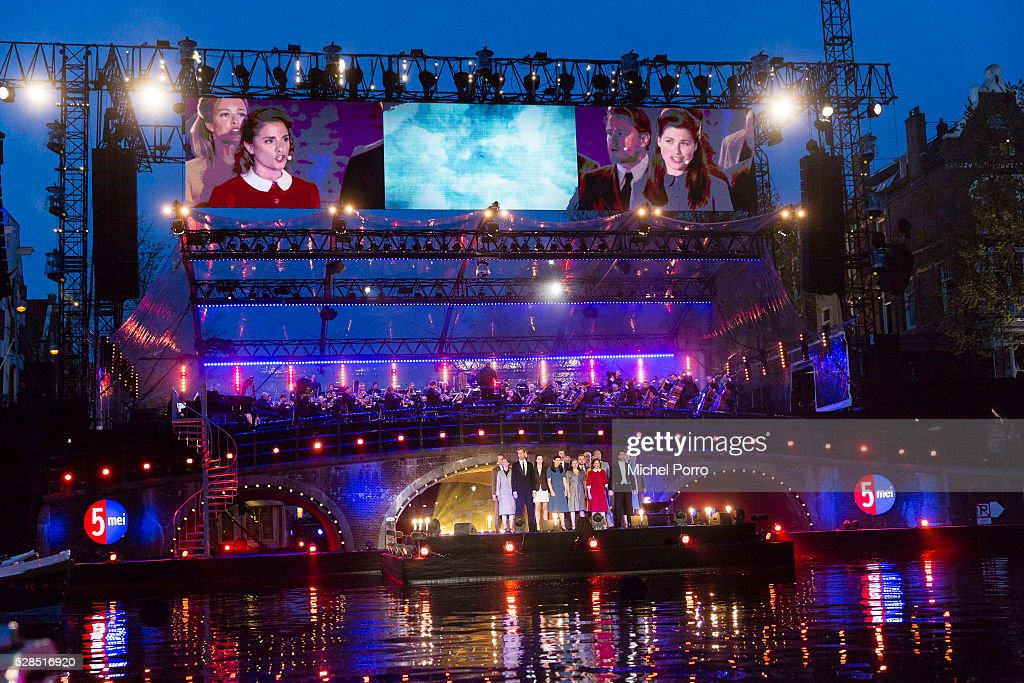 The cast of the musical The Twins (Tweeling) performs during the Liberation Day Concert on May 5, 2016 in Amsterdam, Netherlands. Liberation Day (Dutch: Bevrijdingsdag) is celebrated each year on May the 5th to mark the end of the occupation by Nazi Germany during World War II.