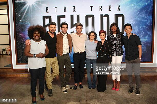 The cast of the new film 'Star Trek Beyond' including Chris Pine Zachary Quinto John Cho and Karl Urban visit 'The Talk' Friday July 22 2016 on the...
