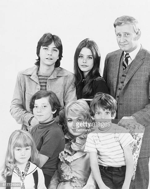 The cast of 'The Patridge Family' a television show about a traveling musical family starring Shirley Jones and Jeremy Gelbwaks as youngest boy...