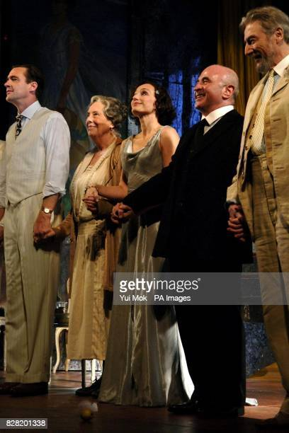 The cast of the play including Margaret Tyzack Kristin Scott Thomas and Bob Hoskins during the curtain call for 'As You Desire Me' at the Playhouse...