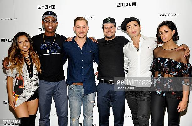 The cast of the Power Rangers movie Becky G RJ Cyler Dacre Montgomery director Dean Israelite Ludi Lin and Naomi Scott attend the WIRED Cafe during...