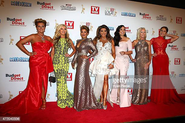 The cast of The Real Housewives Of Melbourne arrive at the 57th Annual Logie Awards at Crown Palladium on May 3 2015 in Melbourne Australia