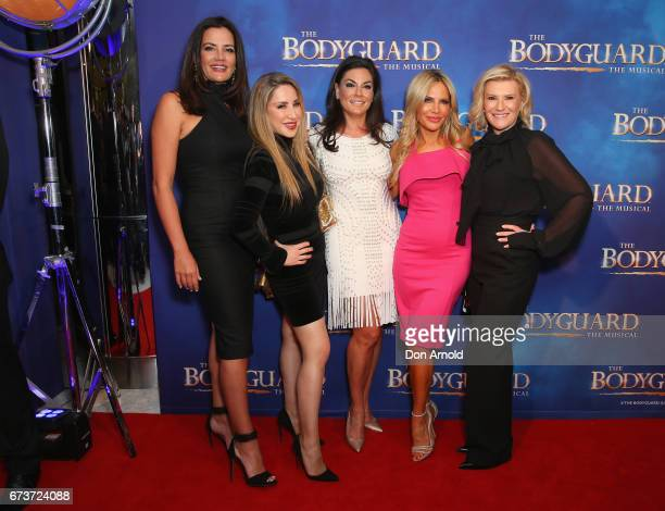 The cast of 'The Real Housewives of Sydney' pose ahead of opening night of The Bodyguard The Musical at Lyric Theatre Star City on April 27 2017 in...