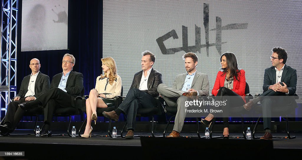 The cast of the television show 'Cult' speak during the CW Network portion of the 2013 Winter Television Critics Association Press Tour at the Langham Huntington Hotel & Spa on January 13, 2013 in Pasadena, California.