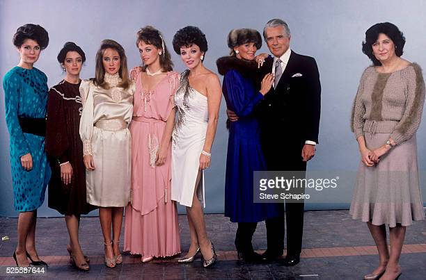 The cast of the television show Dynasty with screenwriter and producer Esther Schapiro From left Deborah Adair Kathleen Beller Pamela Bellwood Pamela...