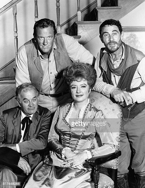 The cast of the television show Gunsmoke are clockwise from top left James Arness as Marshal Matt Dillion Ken Curtis as Deputy Festus Haggen Amanda...