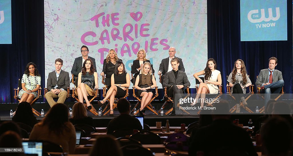The cast of the television show 'The Carrie Diaries' attend the CW Network the 2013 Winter Television Critics Association Press Tour at the Langham Huntington Hotel & Spa on January 13, 2013 in Pasadena, California.