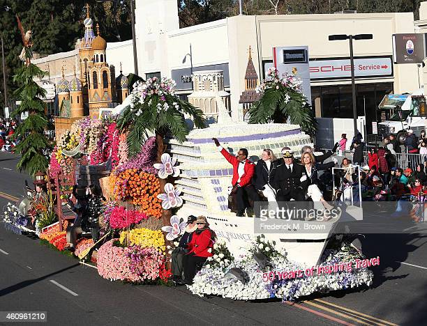 The cast of the television show ' The Love Boat' waves to the crowd on a float sponsored by Princess Cruises on the parade route during the 126th...