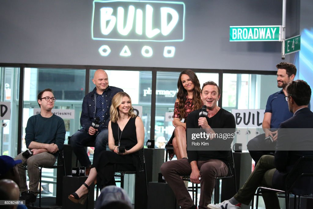 The cast of 'The Tick' Griffin Newman, Michael Cerveris, Valorie Curry, Yara Martinez, Peter Serafinowicz and Brendan Hines visit at Build Studio on August 16, 2017 in New York City.