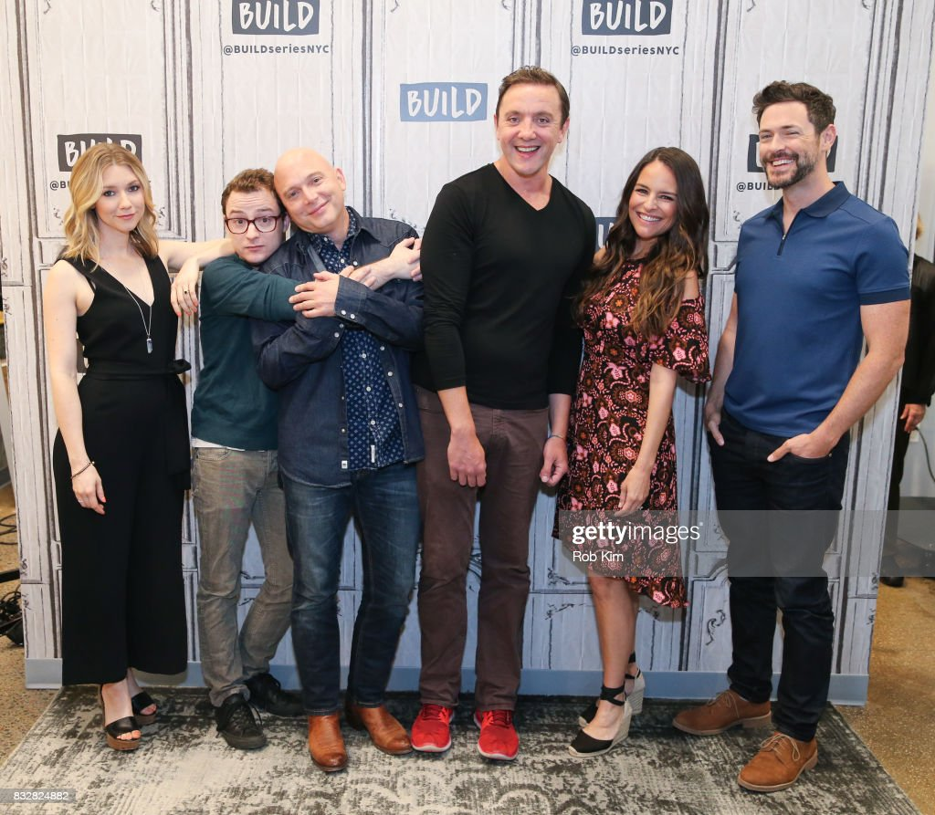 The cast of 'The Tick' Valorie Curry, Griffin Newman, Michael Cerveris, Peter Serafinowicz, Yara Martinez and Brendan Hines visit at Build Studio on August 16, 2017 in New York City.