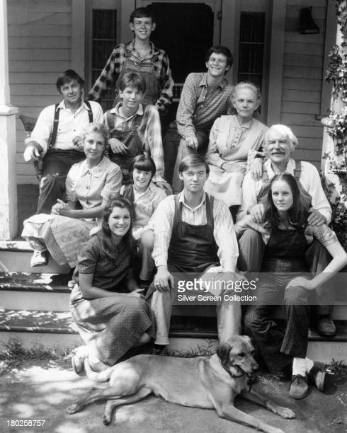The cast of the US TV series 'The Waltons' in a promotional portrait circa 1975 Clockwise from bottom left Judy Norton Taylor Michael Learned Ralph...