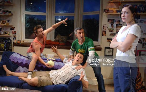 The cast of The Vegemite Tales perform a scene Jonathon Dutton who plays Eddie Blair McDonough Andrew Robb and Anna Skellern at the Venue Theatre in...