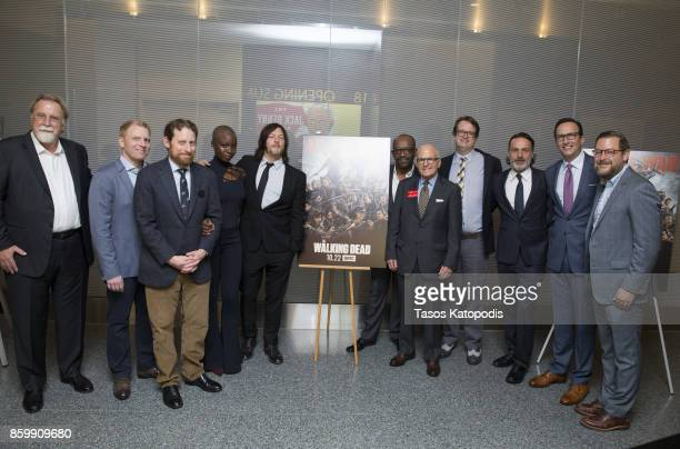 The cast of 'The Walking Dead' including Scott M Gimple Danai Gurira Norman Reedus Lennie James and Andrew Lincoln attend 'The Walking Dead' event at...