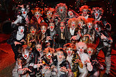 The cast of the West End production of 'Cats' show their support for Red Nose Day at the London Palladium on January 24 2015 in London England