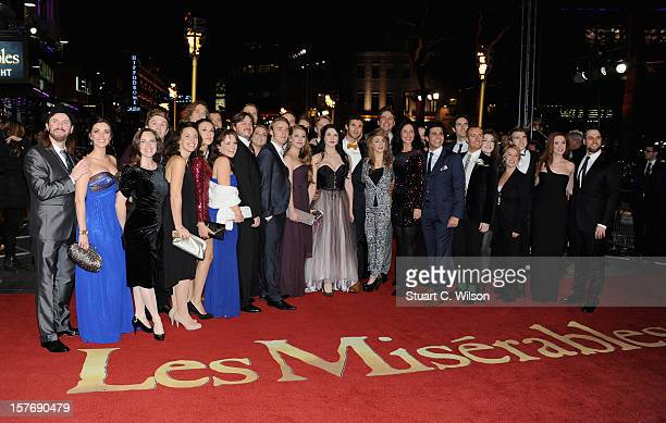 The cast of the West End stage production of Les Miserables attend the 'Les Miserables' World Premiere at the Odeon Leicester Square on December 5...