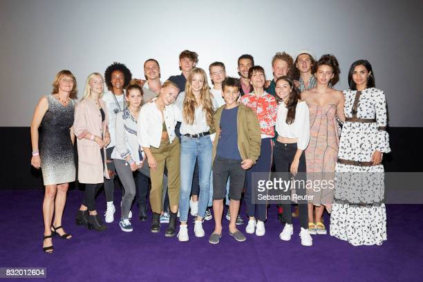 The cast of 'Tigermilch' is seen after the movie at the 'Tigermilch' premiere at Kino in der Kulturbrauerei on August 15 2017 in Berlin Germany