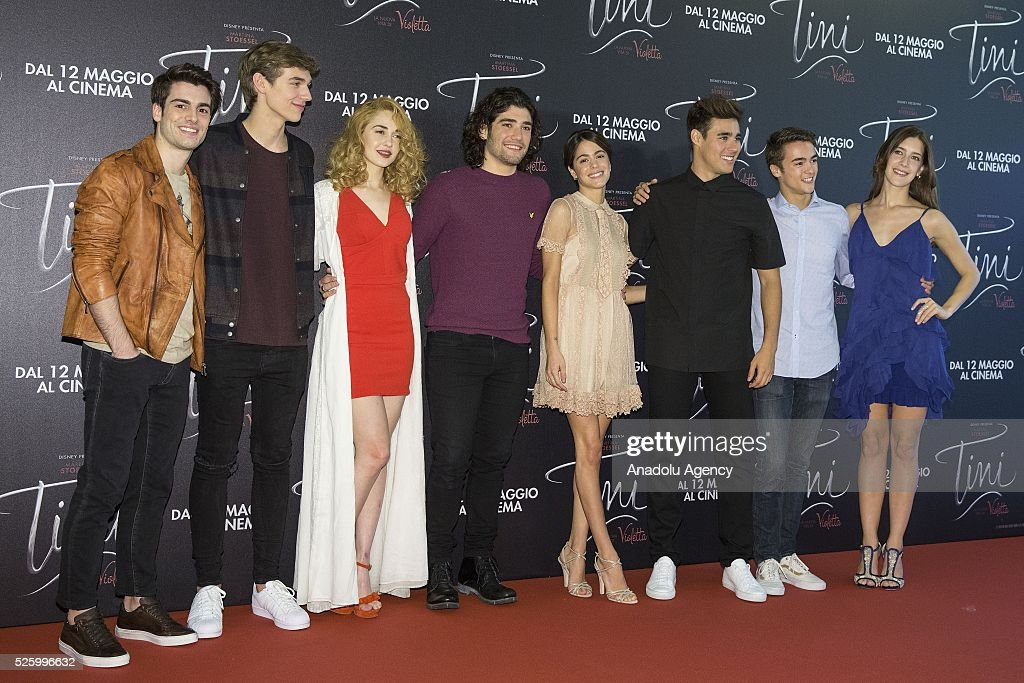 The cast of 'Tini - La nuova vita di Violetta' pose during a photocall at Grand Hotel Parco dei Principi in Rome, Italy on April 29, 2016.