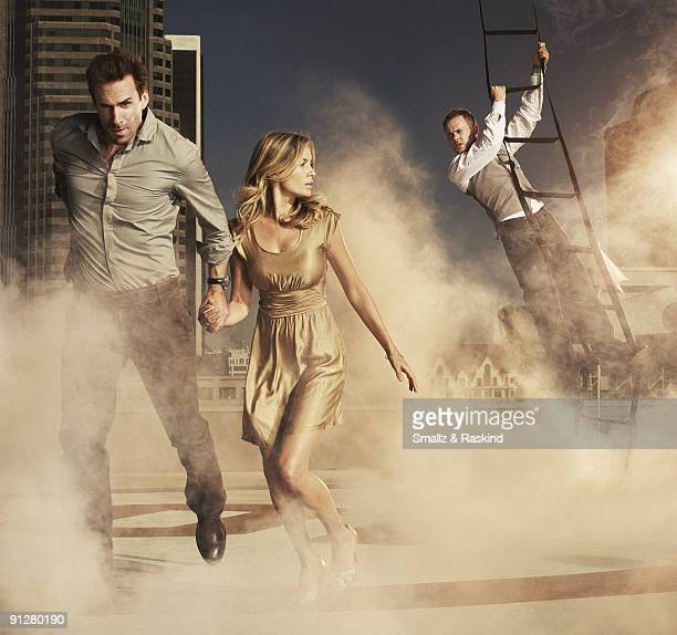 The cast of TV show Flashforward poses at a portrait session in Los Angeles CA for TV Guide Joseph Fiennes Sonya Walger Dominic Monaghan PUBLISHED...