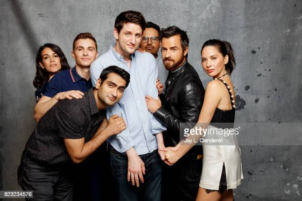 The cast of Warner Bros 'LEGO Ninjago Movie' Abbi Jacobson Zach Woods Michael Peña Justin Theroux Dave Franco Kumail Nanjiani and Olivia Munn pose...