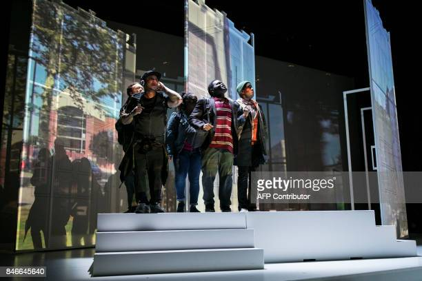 The cast of 'We Shall Not Be Moved' performs a dress rehearsal in Philadelphia Pennsylvania on September 13 2017 The opera tells the story of five...