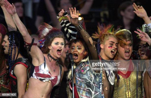 The cast of We Will Rock You on stage in the gardens of Buckingham Palace for the second concert to commemorate the Golden Jubilee of Britain's Queen...