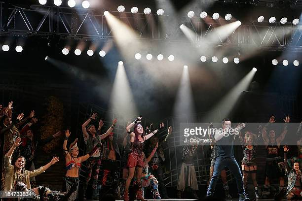 The cast of 'We Will Rock You' perform on stage during the 'We Will Rock You' National Tour opening night at the Hippodrome Theater on October 15...
